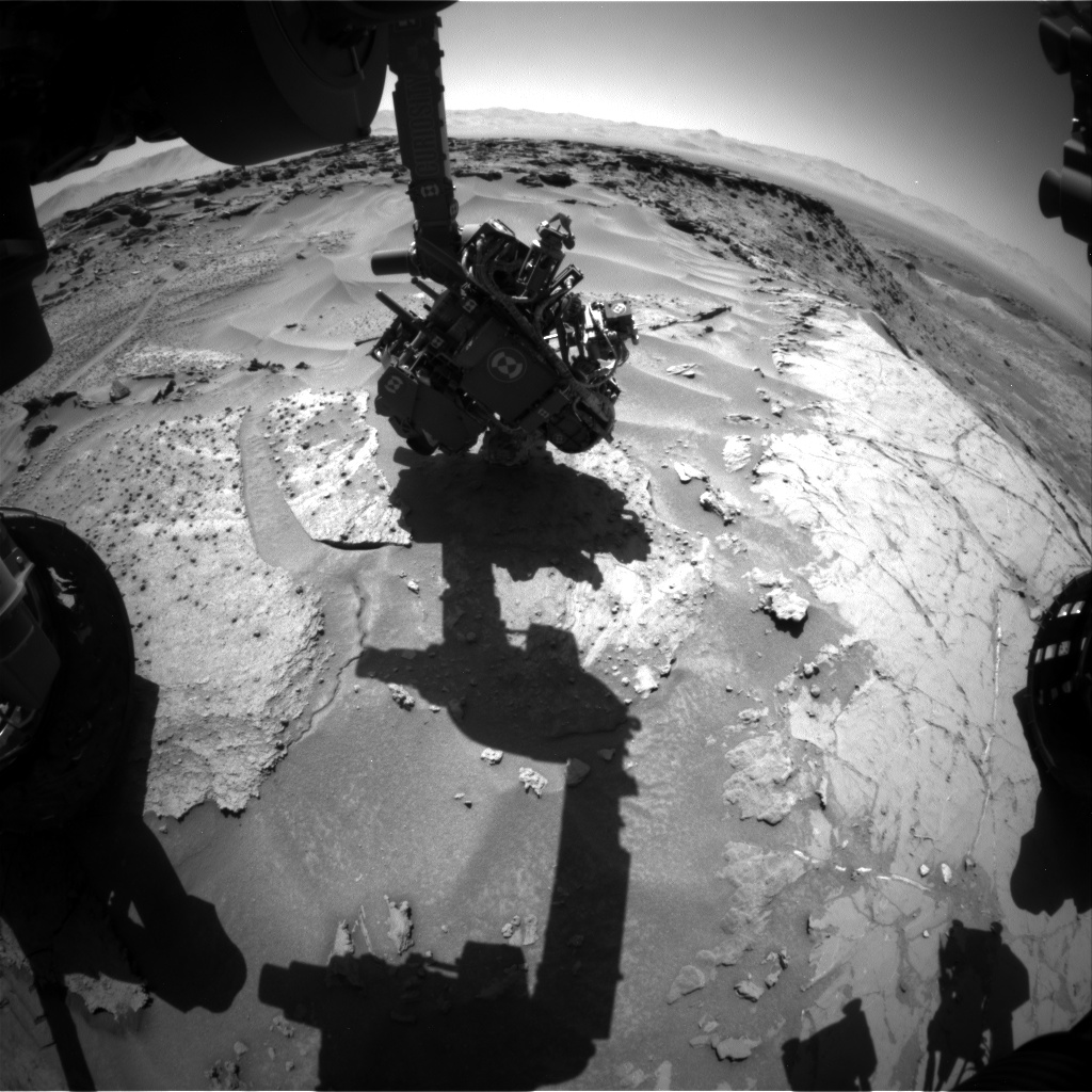 Nasa's Mars rover Curiosity acquired this image using its Front Hazard Avoidance Camera (Front Hazcam) on Sol 1281, at drive 1182, site number 53