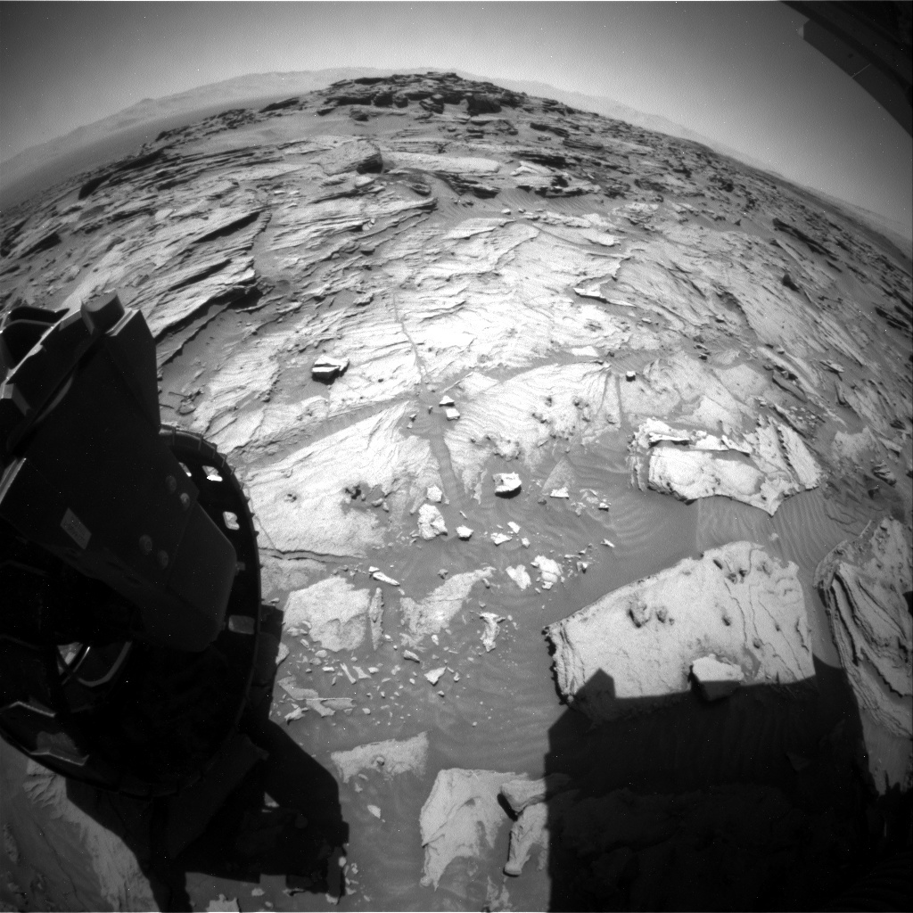 NASA's Mars rover Curiosity acquired this image using its Rear Hazard Avoidance Cameras (Rear Hazcams) on Sol 1283