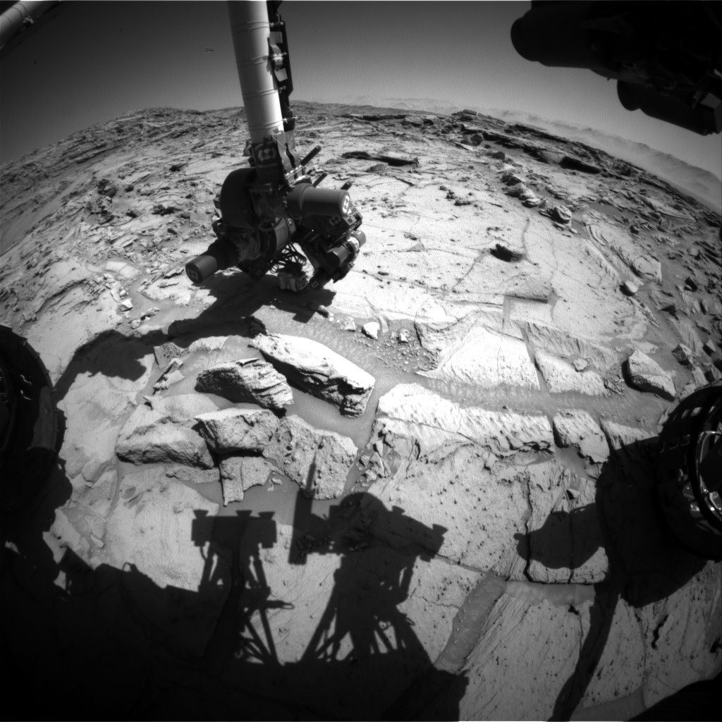 Nasa's Mars rover Curiosity acquired this image using its Front Hazard Avoidance Camera (Front Hazcam) on Sol 1301, at drive 2980, site number 53