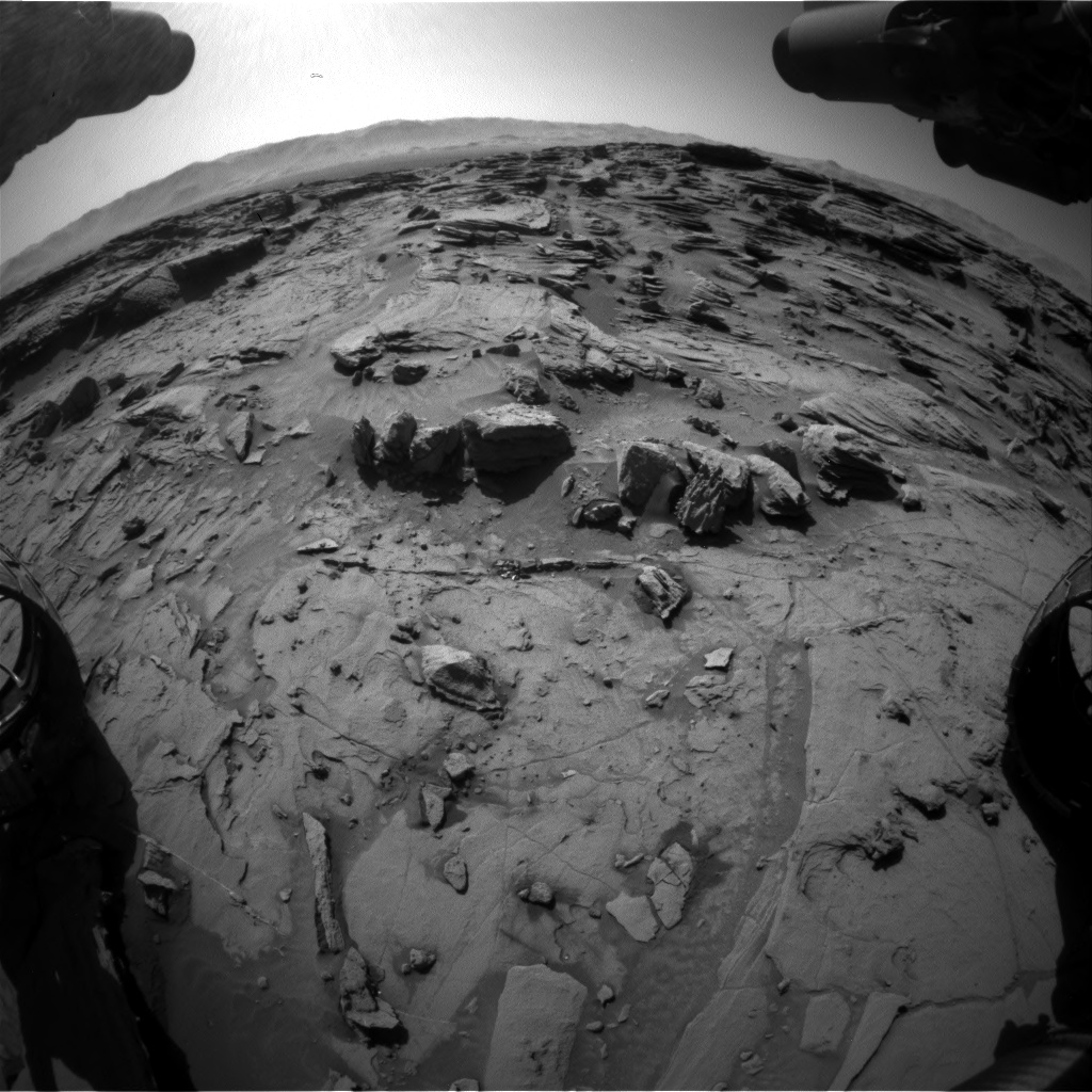 Nasa's Mars rover Curiosity acquired this image using its Front Hazard Avoidance Camera (Front Hazcam) on Sol 1301, at drive 0, site number 54