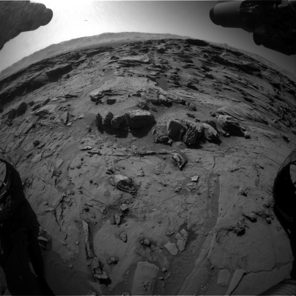 Nasa's Mars rover Curiosity acquired this image using its Front Hazard Avoidance Camera (Front Hazcam) on Sol 1302, at drive 0, site number 54
