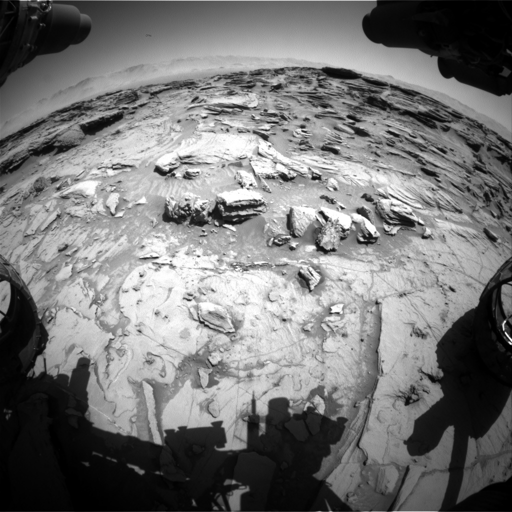 Nasa's Mars rover Curiosity acquired this image using its Front Hazard Avoidance Camera (Front Hazcam) on Sol 1303, at drive 0, site number 54