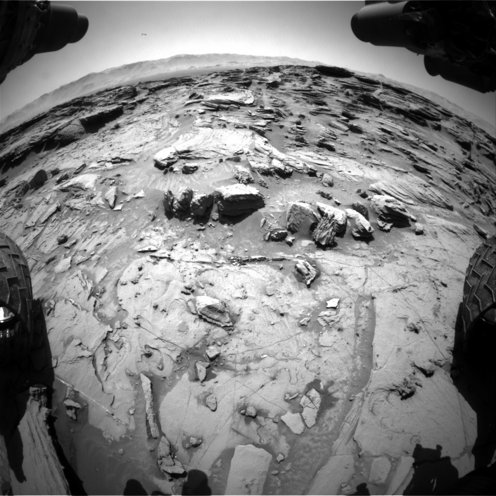 Nasa's Mars rover Curiosity acquired this image using its Front Hazard Avoidance Camera (Front Hazcam) on Sol 1303, at drive 6, site number 54