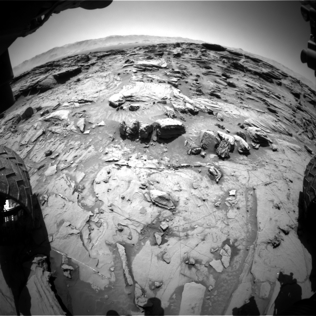Nasa's Mars rover Curiosity acquired this image using its Front Hazard Avoidance Camera (Front Hazcam) on Sol 1304, at drive 6, site number 54