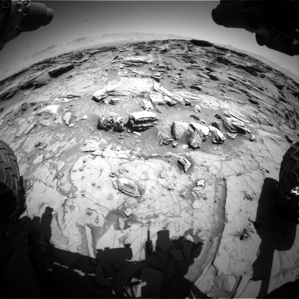Nasa's Mars rover Curiosity acquired this image using its Front Hazard Avoidance Camera (Front Hazcam) on Sol 1305, at drive 6, site number 54