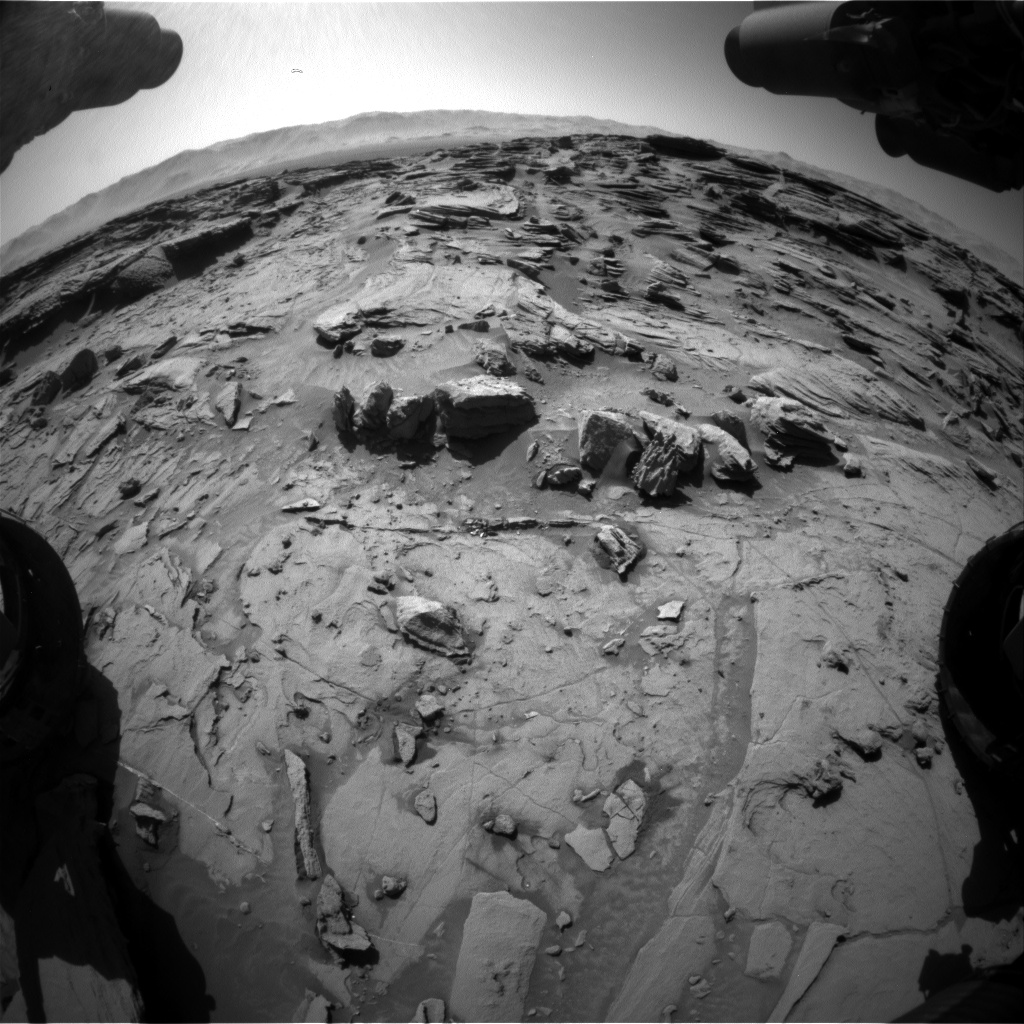 Nasa's Mars rover Curiosity acquired this image using its Front Hazard Avoidance Camera (Front Hazcam) on Sol 1305, at drive 10, site number 54