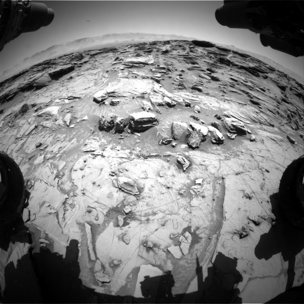 Nasa's Mars rover Curiosity acquired this image using its Front Hazard Avoidance Camera (Front Hazcam) on Sol 1306, at drive 10, site number 54