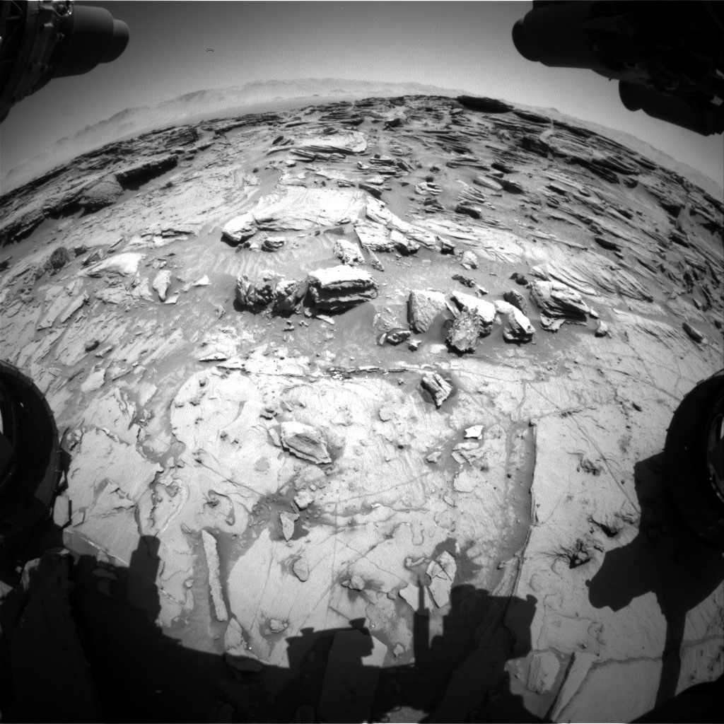 Nasa's Mars rover Curiosity acquired this image using its Front Hazard Avoidance Camera (Front Hazcam) on Sol 1309, at drive 10, site number 54