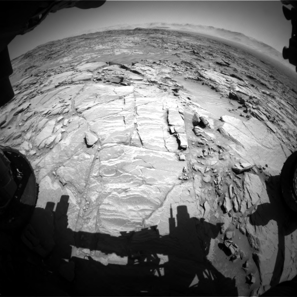 Nasa's Mars rover Curiosity acquired this image using its Front Hazard Avoidance Camera (Front Hazcam) on Sol 1310, at drive 238, site number 54