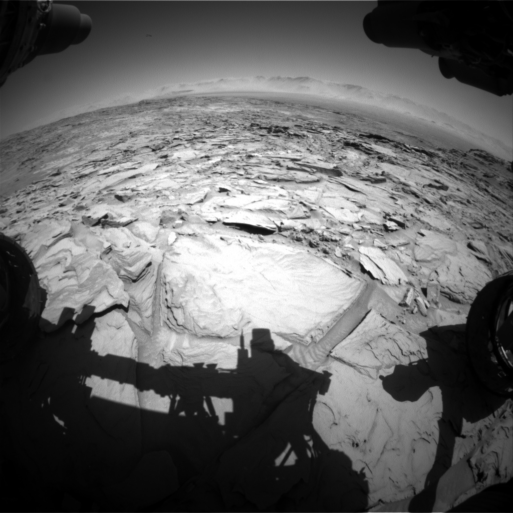 Nasa's Mars rover Curiosity acquired this image using its Front Hazard Avoidance Camera (Front Hazcam) on Sol 1310, at drive 88, site number 54