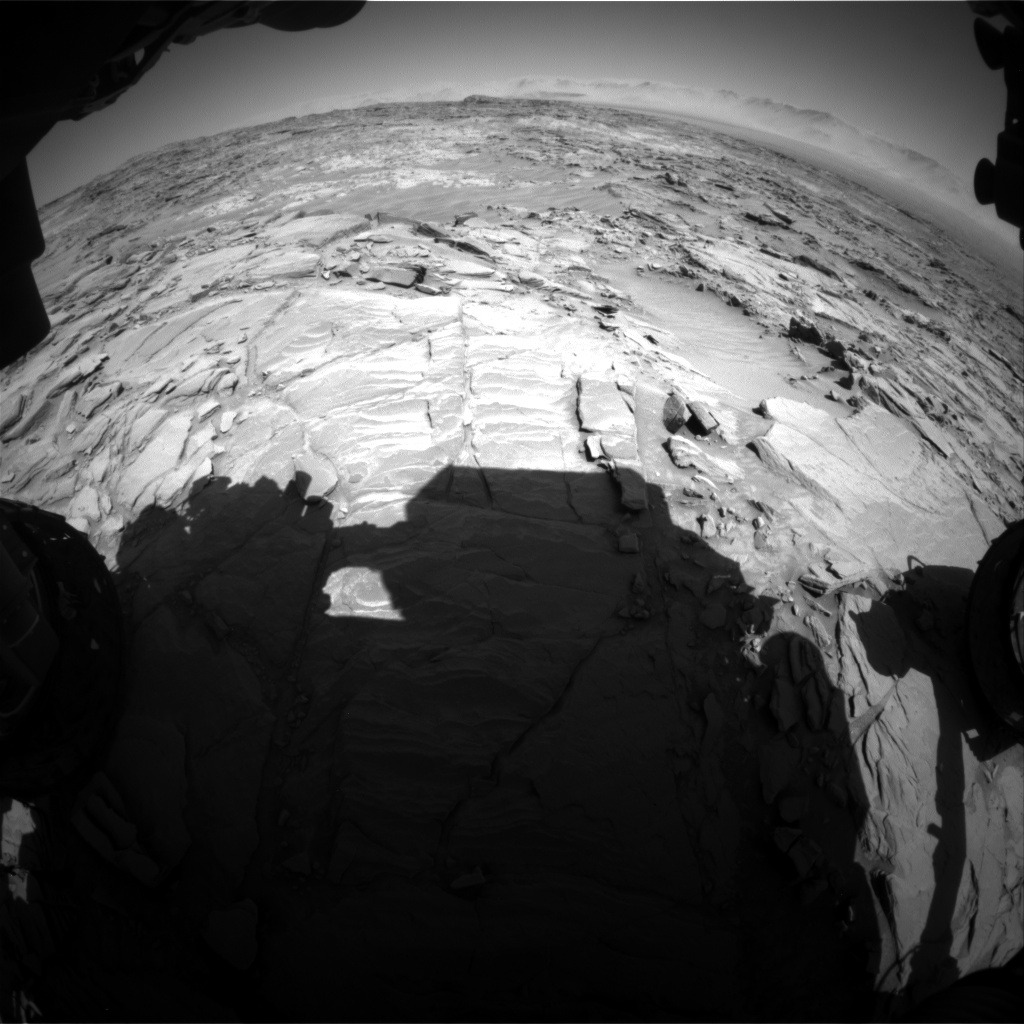 Nasa's Mars rover Curiosity acquired this image using its Front Hazard Avoidance Camera (Front Hazcam) on Sol 1311, at drive 238, site number 54