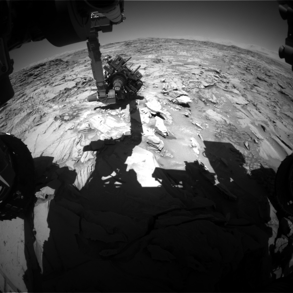 Nasa's Mars rover Curiosity acquired this image using its Front Hazard Avoidance Camera (Front Hazcam) on Sol 1314, at drive 388, site number 54