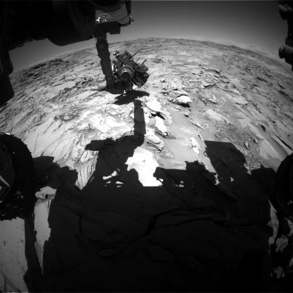 NASA's Mars rover Curiosity acquired this image using its Front Hazard Avoidance Cameras (Front Hazcams) on Sol 1315