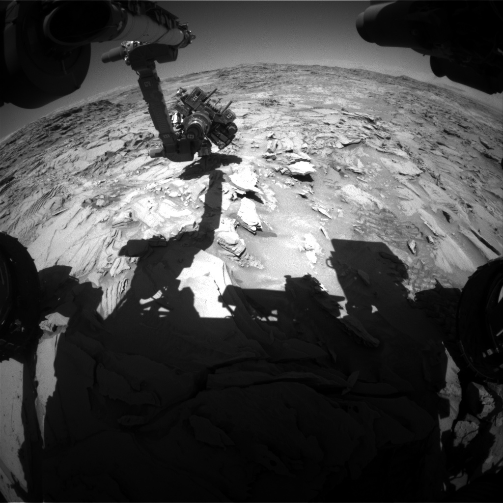 Nasa's Mars rover Curiosity acquired this image using its Front Hazard Avoidance Camera (Front Hazcam) on Sol 1315, at drive 388, site number 54