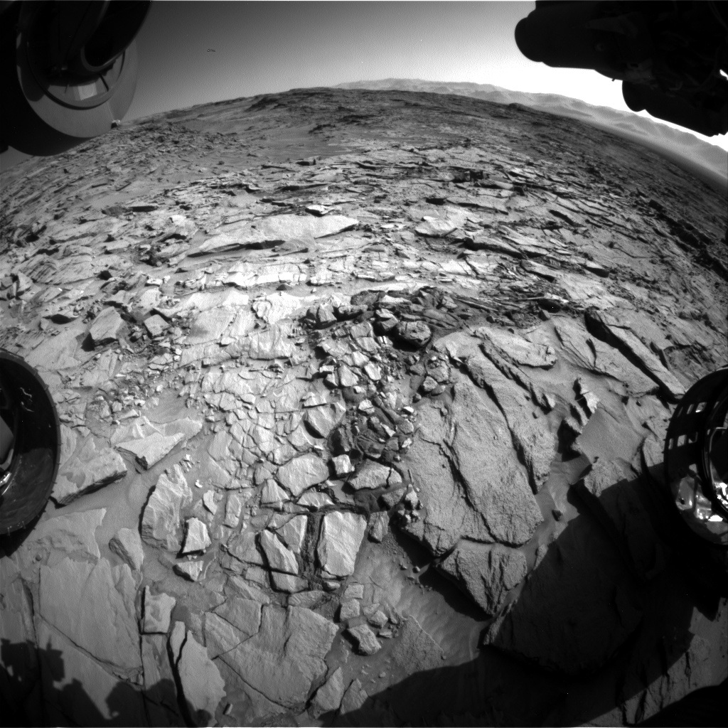 Nasa's Mars rover Curiosity acquired this image using its Front Hazard Avoidance Camera (Front Hazcam) on Sol 1318, at drive 746, site number 54