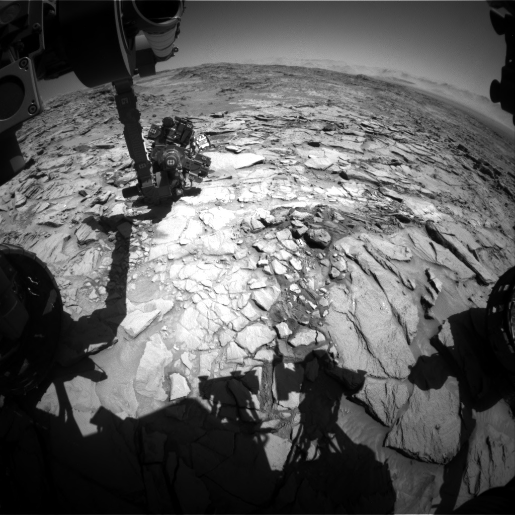 Nasa's Mars rover Curiosity acquired this image using its Front Hazard Avoidance Camera (Front Hazcam) on Sol 1319, at drive 746, site number 54