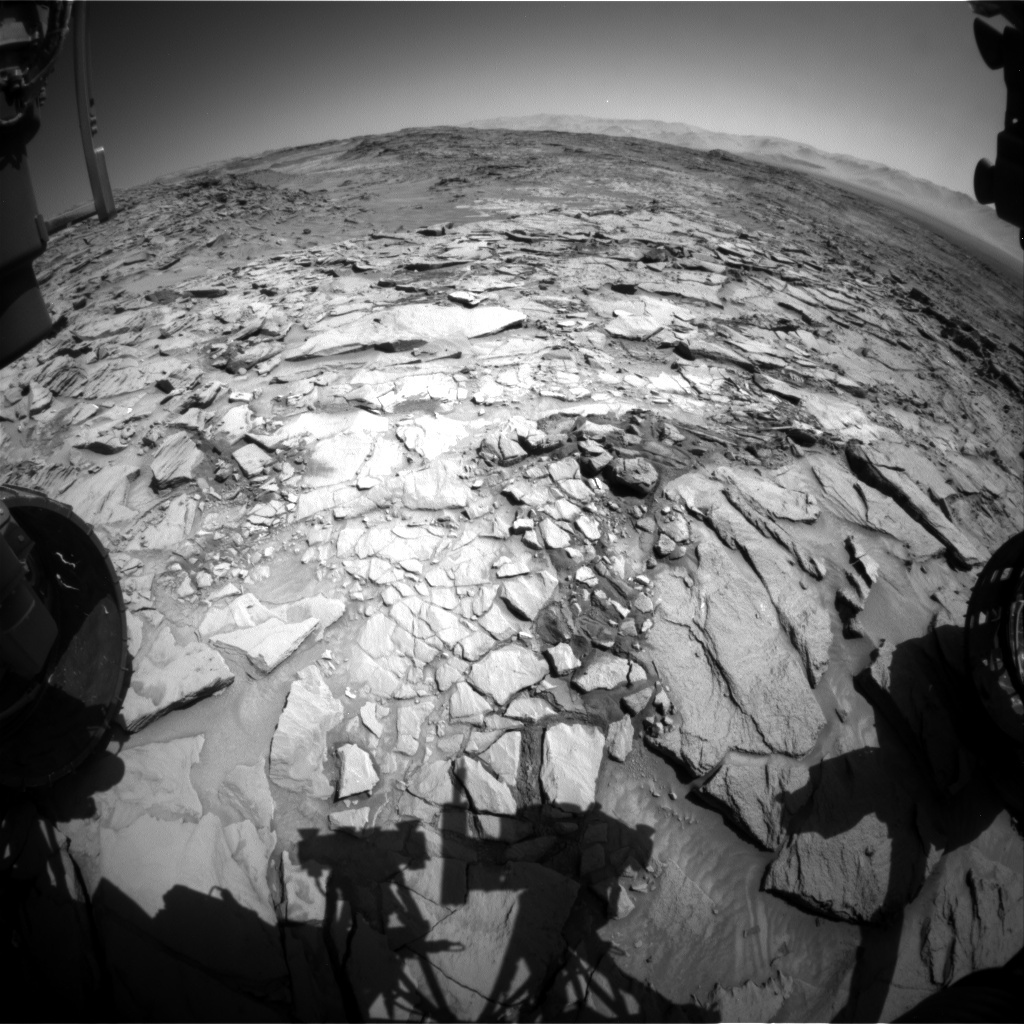 NASA's Mars rover Curiosity acquired this image using its Front Hazard Avoidance Cameras (Front Hazcams) on Sol 1322