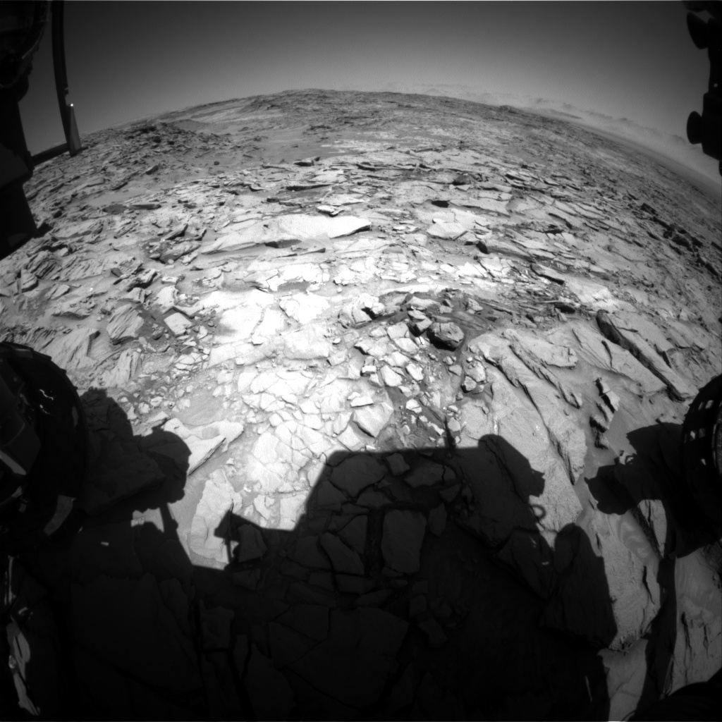 Nasa's Mars rover Curiosity acquired this image using its Front Hazard Avoidance Camera (Front Hazcam) on Sol 1323, at drive 746, site number 54