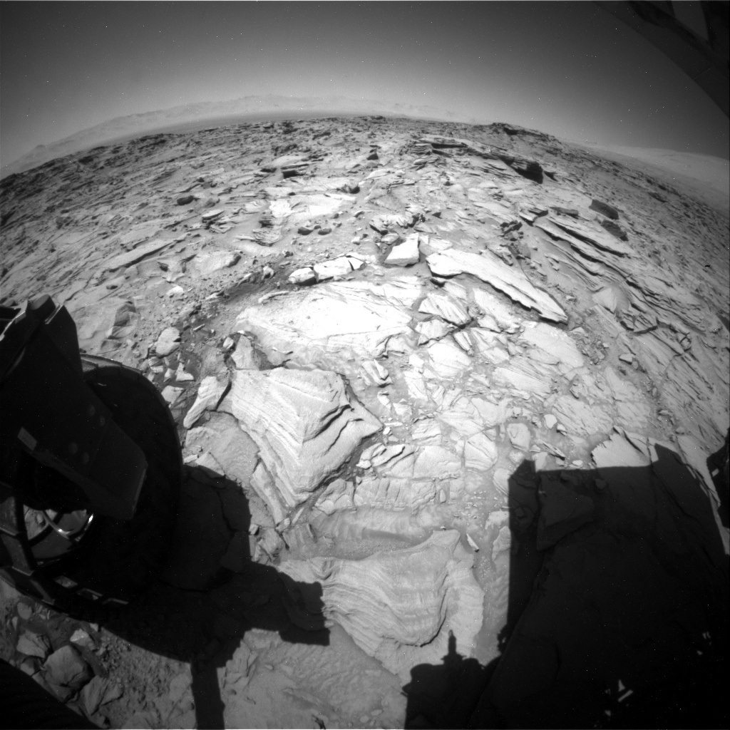 NASA's Mars rover Curiosity acquired this image using its Rear Hazard Avoidance Cameras (Rear Hazcams) on Sol 1323