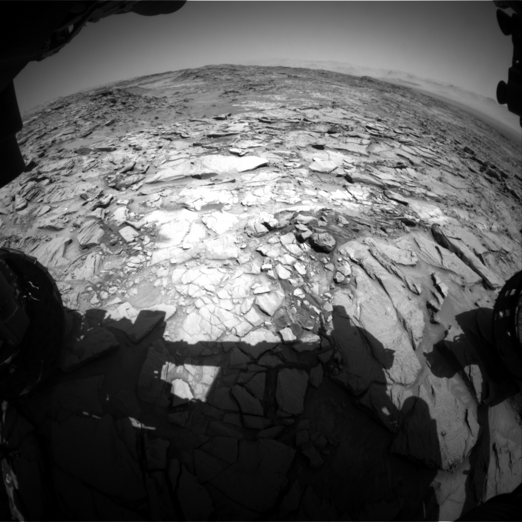NASA's Mars rover Curiosity acquired this image using its Front Hazard Avoidance Cameras (Front Hazcams) on Sol 1329