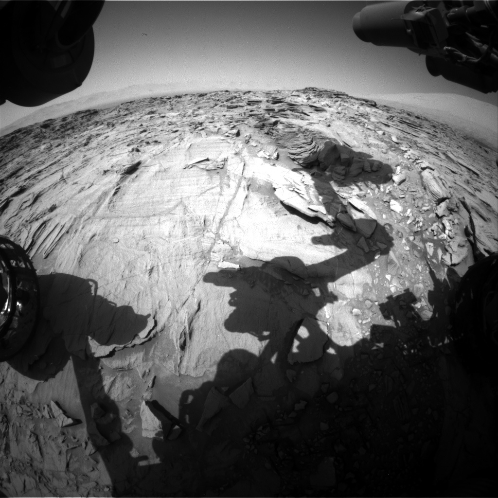 Nasa's Mars rover Curiosity acquired this image using its Front Hazard Avoidance Camera (Front Hazcam) on Sol 1329, at drive 938, site number 54