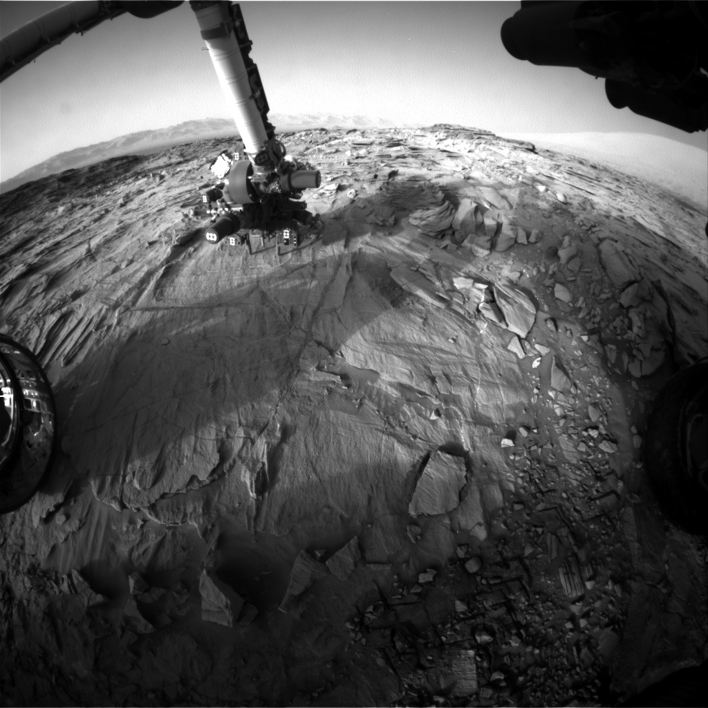 Nasa's Mars rover Curiosity acquired this image using its Front Hazard Avoidance Camera (Front Hazcam) on Sol 1330, at drive 938, site number 54