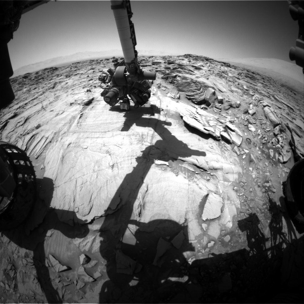 Nasa's Mars rover Curiosity acquired this image using its Front Hazard Avoidance Camera (Front Hazcam) on Sol 1331, at drive 938, site number 54