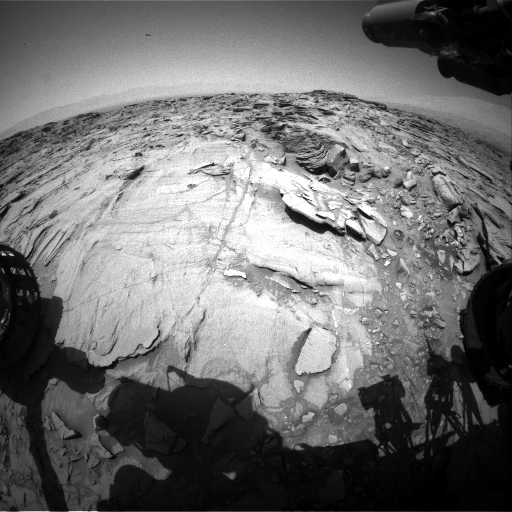 Nasa's Mars rover Curiosity acquired this image using its Front Hazard Avoidance Camera (Front Hazcam) on Sol 1333, at drive 938, site number 54