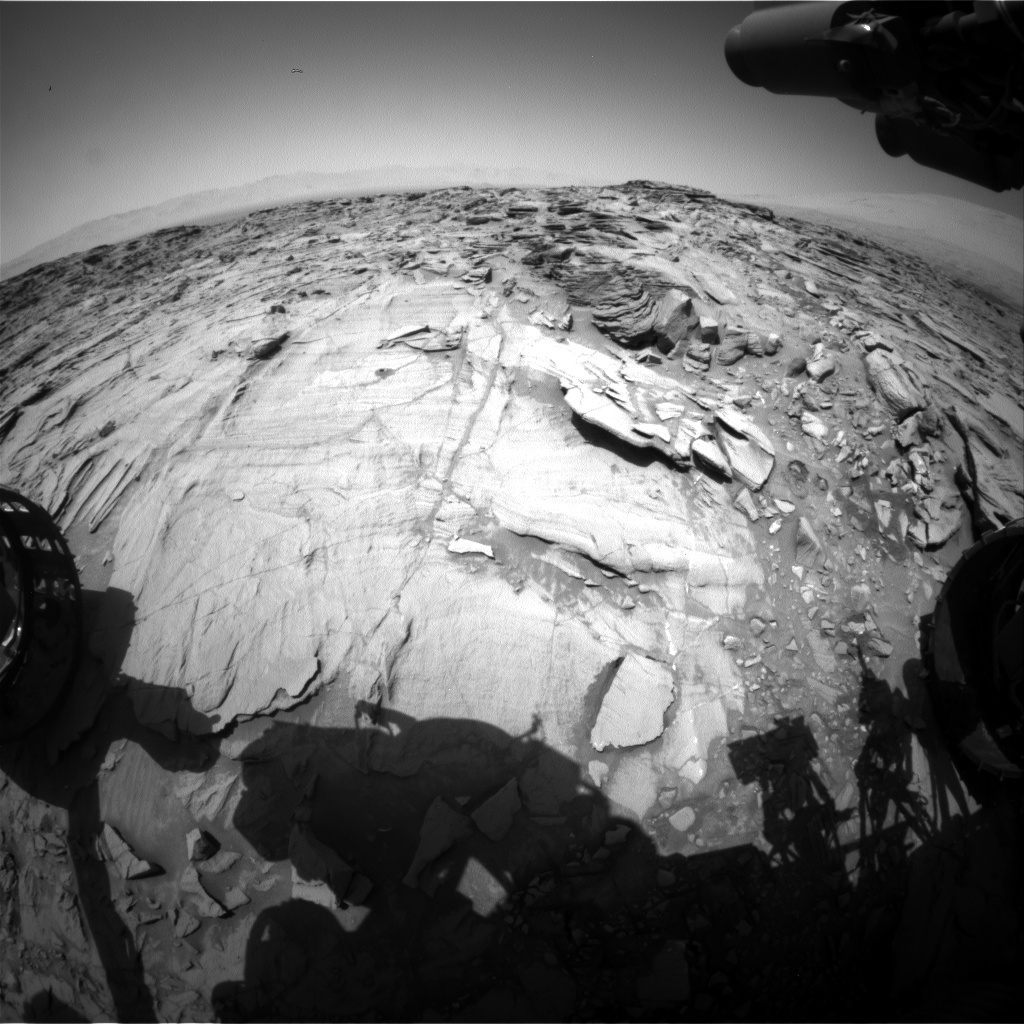 Nasa's Mars rover Curiosity acquired this image using its Front Hazard Avoidance Camera (Front Hazcam) on Sol 1334, at drive 938, site number 54