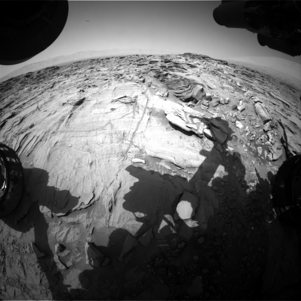 Nasa's Mars rover Curiosity acquired this image using its Front Hazard Avoidance Camera (Front Hazcam) on Sol 1335, at drive 938, site number 54