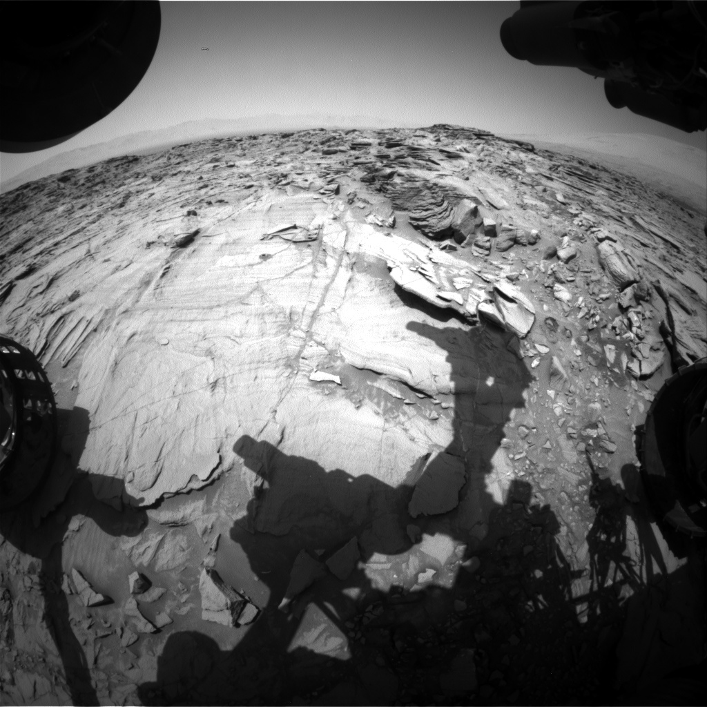 Nasa's Mars rover Curiosity acquired this image using its Front Hazard Avoidance Camera (Front Hazcam) on Sol 1336, at drive 938, site number 54