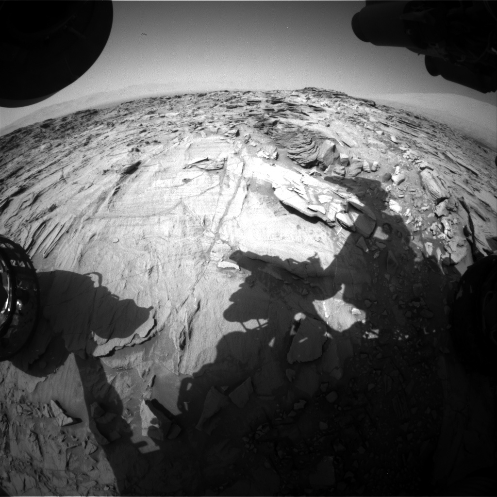 Nasa's Mars rover Curiosity acquired this image using its Front Hazard Avoidance Camera (Front Hazcam) on Sol 1337, at drive 938, site number 54