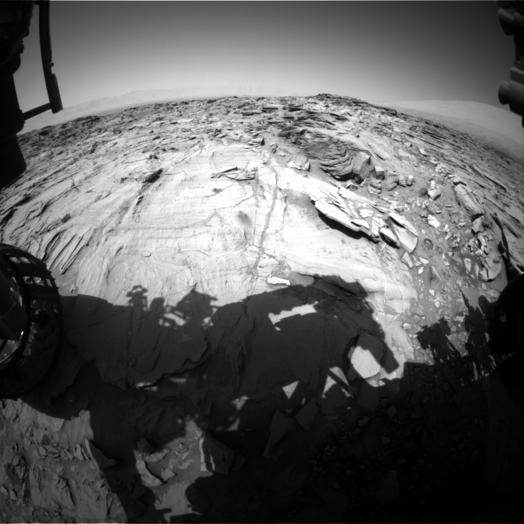 Nasa's Mars rover Curiosity acquired this image using its Front Hazard Avoidance Camera (Front Hazcam) on Sol 1338, at drive 938, site number 54