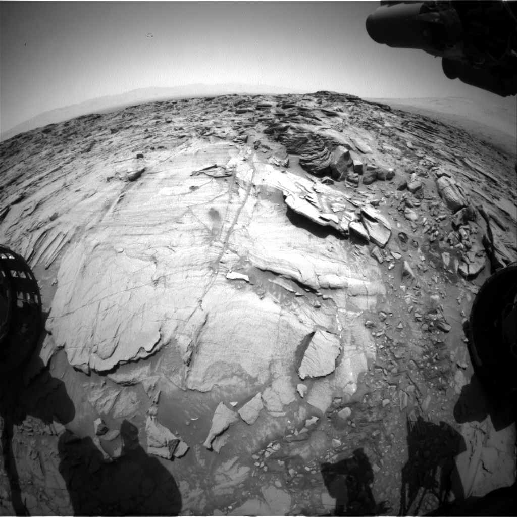 Nasa's Mars rover Curiosity acquired this image using its Front Hazard Avoidance Camera (Front Hazcam) on Sol 1341, at drive 938, site number 54