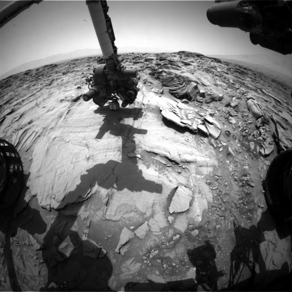 Nasa's Mars rover Curiosity acquired this image using its Front Hazard Avoidance Camera (Front Hazcam) on Sol 1342, at drive 938, site number 54