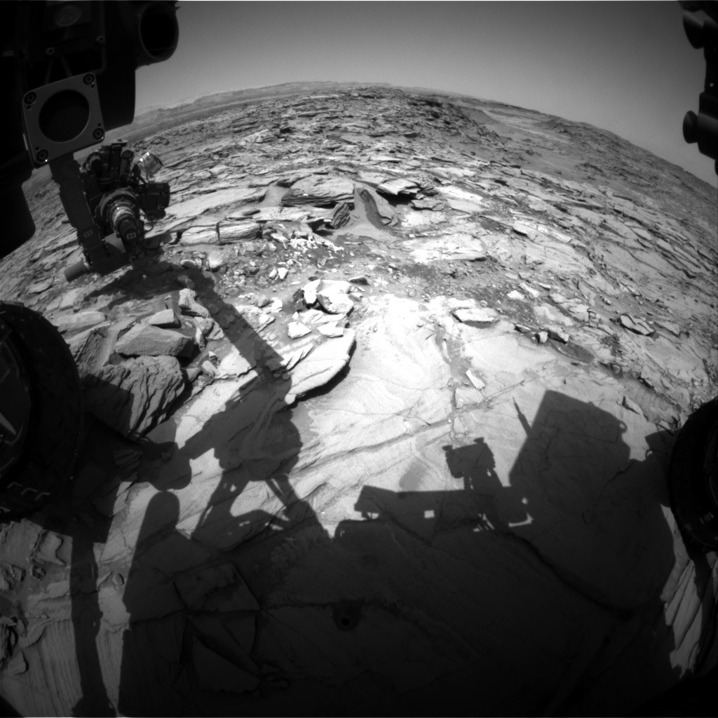 Nasa's Mars rover Curiosity acquired this image using its Front Hazard Avoidance Camera (Front Hazcam) on Sol 1344, at drive 992, site number 54