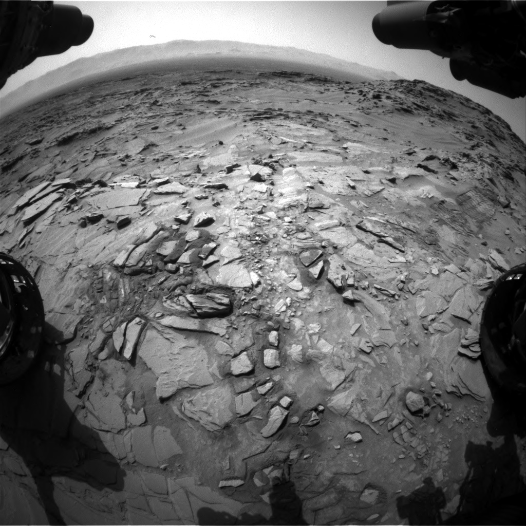 Nasa's Mars rover Curiosity acquired this image using its Front Hazard Avoidance Camera (Front Hazcam) on Sol 1344, at drive 1238, site number 54