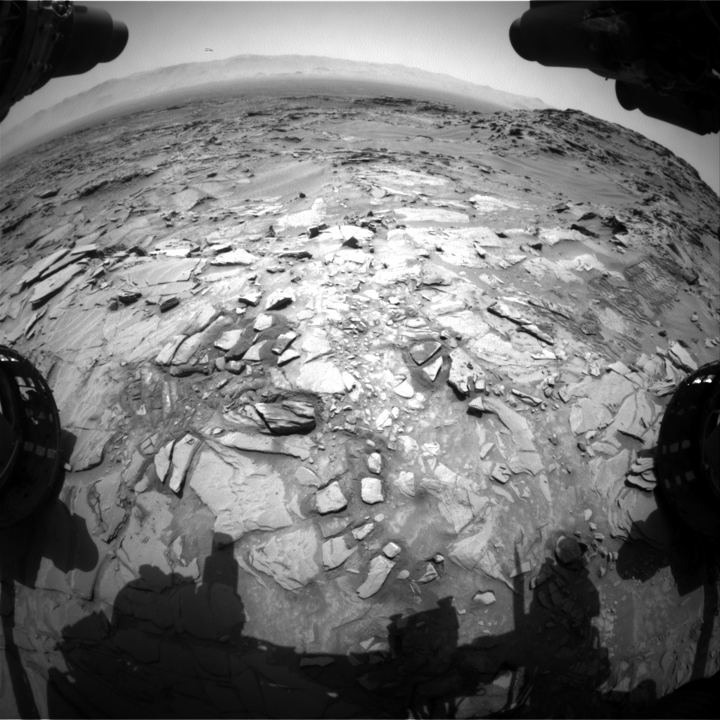 Nasa's Mars rover Curiosity acquired this image using its Front Hazard Avoidance Camera (Front Hazcam) on Sol 1345, at drive 1238, site number 54