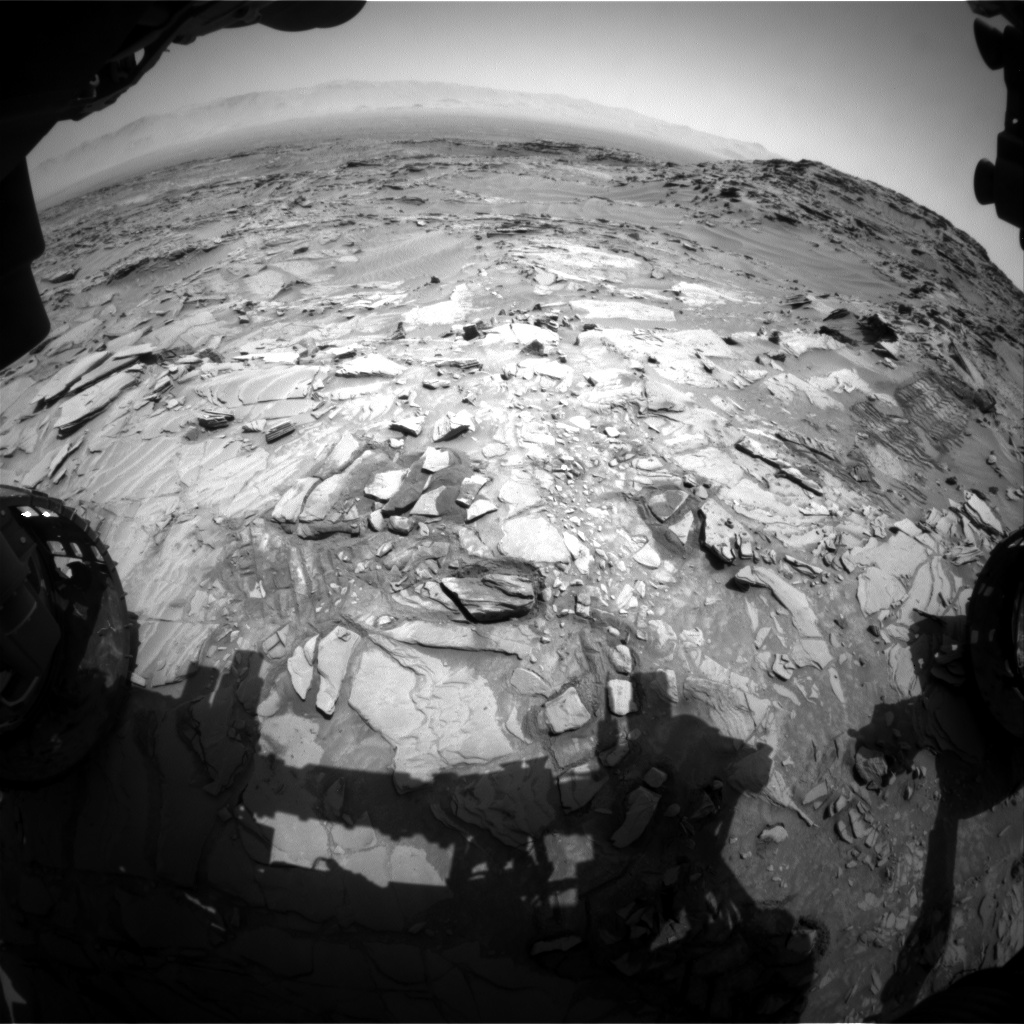 Nasa's Mars rover Curiosity acquired this image using its Front Hazard Avoidance Camera (Front Hazcam) on Sol 1346, at drive 1238, site number 54