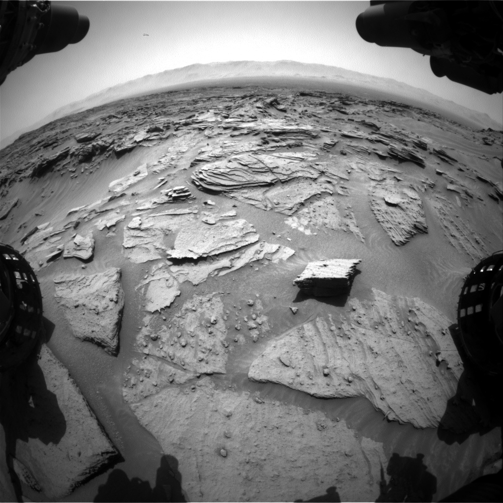 Nasa's Mars rover Curiosity acquired this image using its Front Hazard Avoidance Camera (Front Hazcam) on Sol 1346, at drive 1490, site number 54