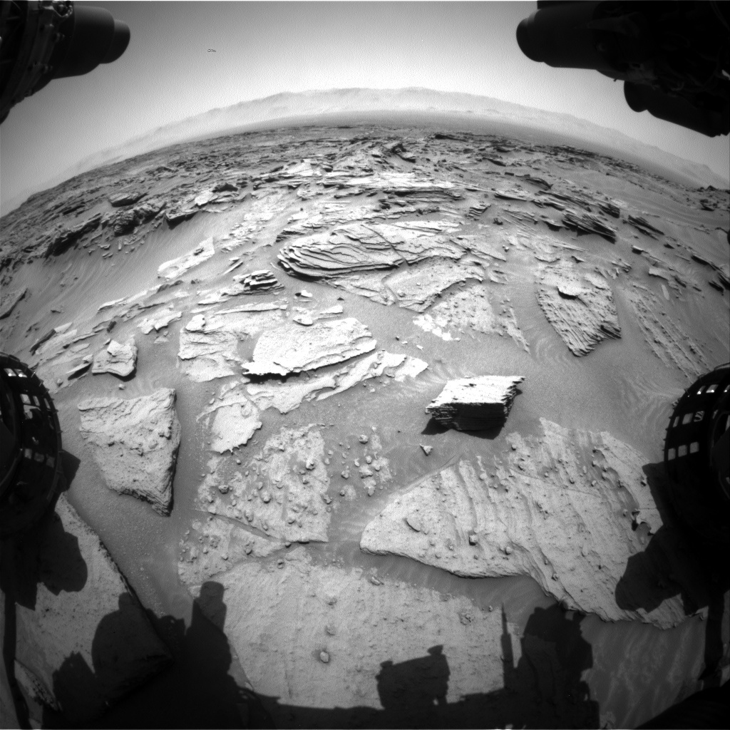 Nasa's Mars rover Curiosity acquired this image using its Front Hazard Avoidance Camera (Front Hazcam) on Sol 1347, at drive 1490, site number 54