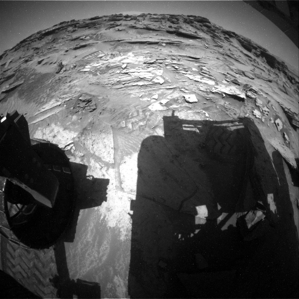 NASA's Mars rover Curiosity acquired this image using its Rear Hazard Avoidance Cameras (Rear Hazcams) on Sol 1347