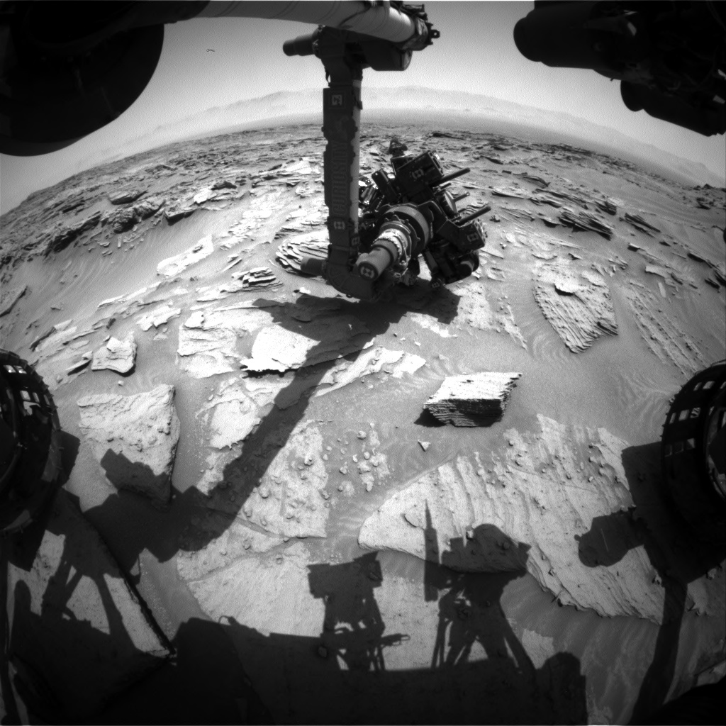 Nasa's Mars rover Curiosity acquired this image using its Front Hazard Avoidance Camera (Front Hazcam) on Sol 1349, at drive 1490, site number 54
