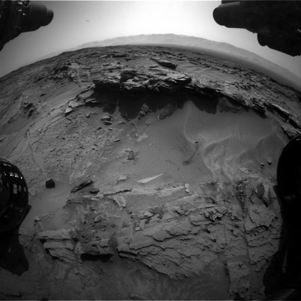 Nasa's Mars rover Curiosity acquired this image using its Front Hazard Avoidance Camera (Front Hazcam) on Sol 1349, at drive 1610, site number 54