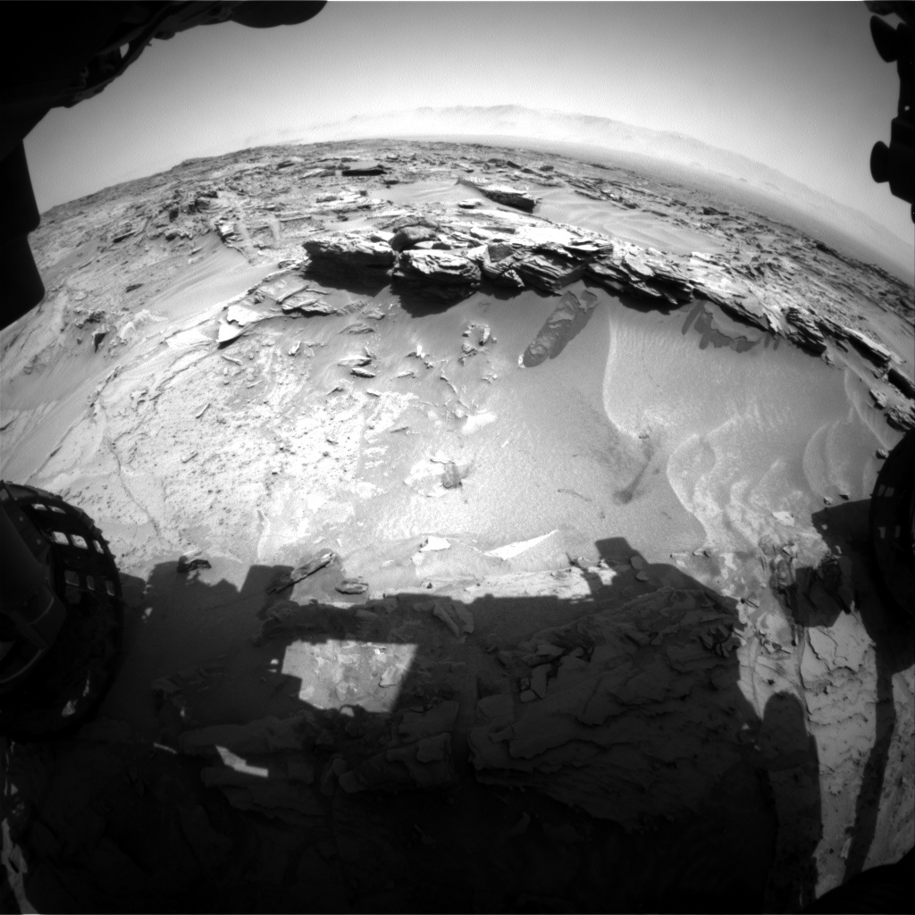 NASA's Mars rover Curiosity acquired this image using its Front Hazard Avoidance Cameras (Front Hazcams) on Sol 1350