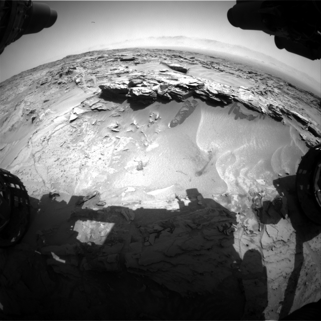 Nasa's Mars rover Curiosity acquired this image using its Front Hazard Avoidance Camera (Front Hazcam) on Sol 1350, at drive 1610, site number 54