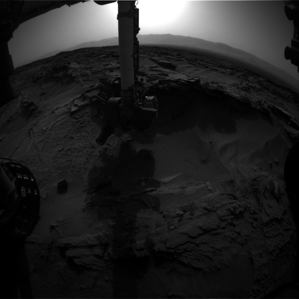 Nasa's Mars rover Curiosity acquired this image using its Front Hazard Avoidance Camera (Front Hazcam) on Sol 1351, at drive 1610, site number 54