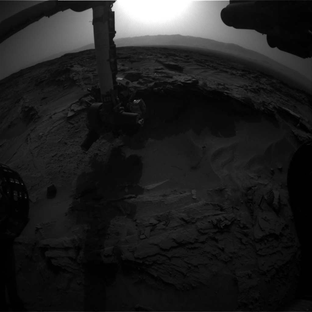 NASA's Mars rover Curiosity acquired this image using its Front Hazard Avoidance Cameras (Front Hazcams) on Sol 1351