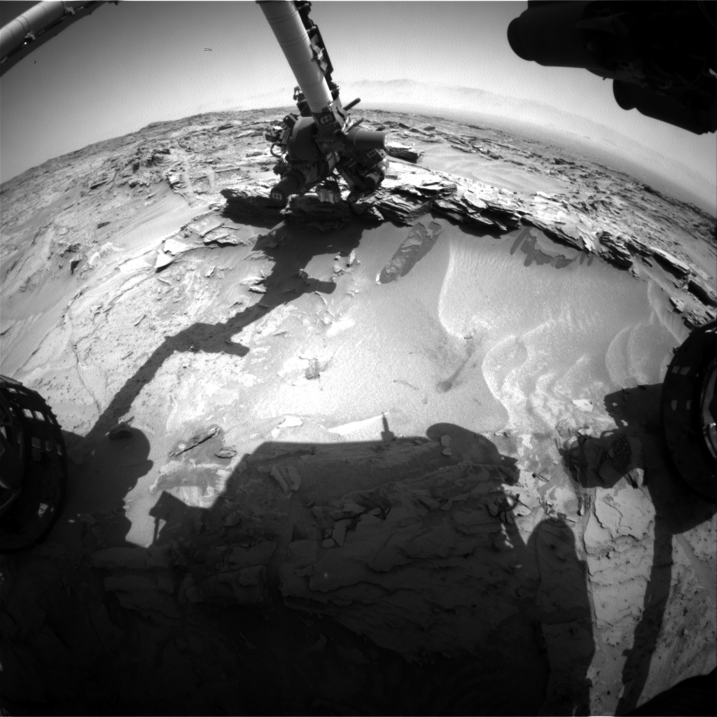 Nasa's Mars rover Curiosity acquired this image using its Front Hazard Avoidance Camera (Front Hazcam) on Sol 1352, at drive 1610, site number 54