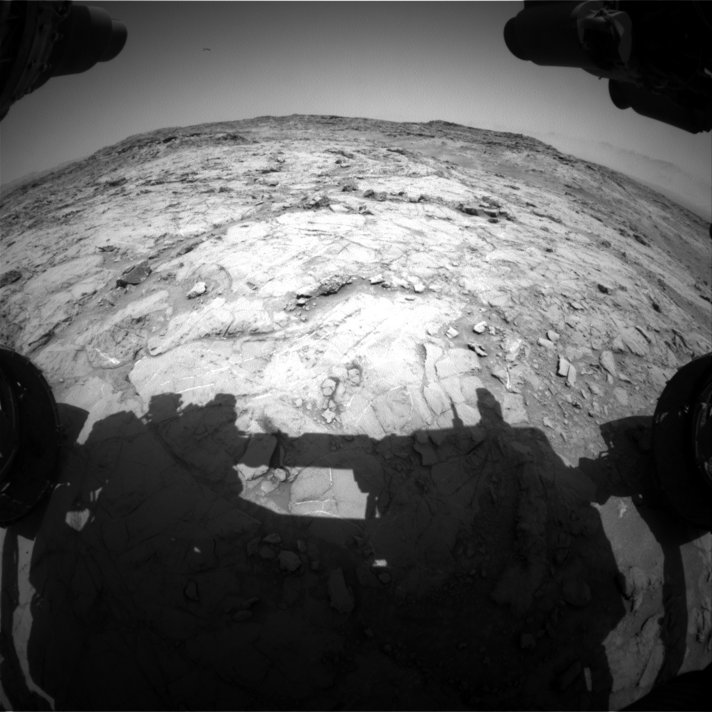 Nasa's Mars rover Curiosity acquired this image using its Front Hazard Avoidance Camera (Front Hazcam) on Sol 1354, at drive 2202, site number 54